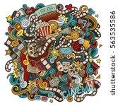 cartoon cute doodles hand drawn ... | Shutterstock .eps vector #563535586