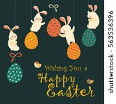 bunnies and easter eggs | Shutterstock .eps vector #563536396