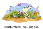 easter bunny painting eggs   Shutterstock . vector #563536456