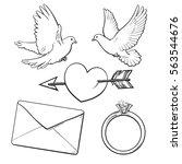 wedding  engagement icon set... | Shutterstock .eps vector #563544676