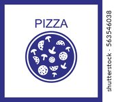 pizza with salami and mushrooms.... | Shutterstock .eps vector #563546038