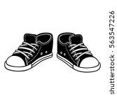 black canvas sneakers cartoon... | Shutterstock .eps vector #563547226