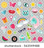 fashion set of patches 80s... | Shutterstock .eps vector #563549488