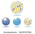 abstract multi colored globes | Shutterstock .eps vector #563551996