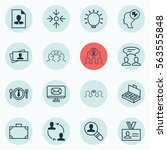 set of 16 business management... | Shutterstock . vector #563555848