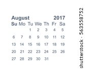 august 2017 calendar icon... | Shutterstock .eps vector #563558752
