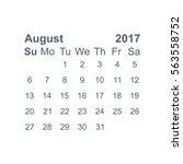august 2017 calendar icon... | Shutterstock .eps vector #563558752
