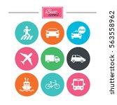 transport icons. car  bike  bus ... | Shutterstock . vector #563558962