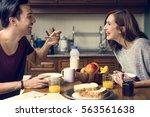 Couple Eating Morning Breakfast ...
