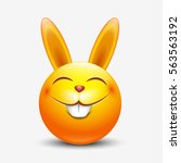 cute easter bunny emoticon ... | Shutterstock .eps vector #563563192
