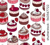 seamless pattern with sweet... | Shutterstock .eps vector #563567722