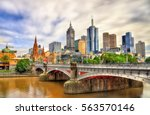 Skyline Of Melbourne Along The...