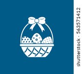 Easter Egg In Basket Flat Icon...