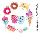 set of cute desserts. donuts ... | Shutterstock .eps vector #563578636