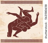 greek style drawing.two naked... | Shutterstock .eps vector #563580658