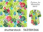 seamless tropical floral... | Shutterstock .eps vector #563584366
