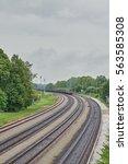 diesel locomotive and railway... | Shutterstock . vector #563585308
