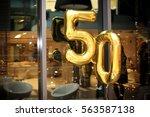 50th birthday metallic gold... | Shutterstock . vector #563587138