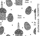 seamless pattern with easter... | Shutterstock .eps vector #563589772