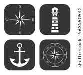 marine icons vector set on gray ... | Shutterstock .eps vector #563590942