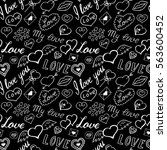 seamless pattern of hearts and... | Shutterstock .eps vector #563600452