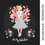 happy valentines day design....   Shutterstock .eps vector #563602156