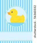 Cute rubber duck greeting card - vector - stock vector