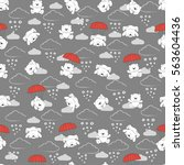 cute kids pattern for girls and ... | Shutterstock .eps vector #563604436