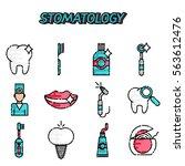 stomatology flat icons set.... | Shutterstock .eps vector #563612476