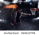 basket player throws the... | Shutterstock . vector #563613748