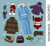 set of warm winter clothes... | Shutterstock .eps vector #563613952