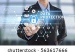 businessman hand pressing...   Shutterstock . vector #563617666