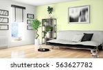 modern bright interior . 3d... | Shutterstock . vector #563627782