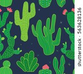 cactus seamless pattern.... | Shutterstock .eps vector #563628136