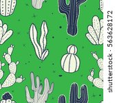 cactus seamless pattern.... | Shutterstock .eps vector #563628172