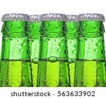 Closeup Of Five Green Beer...