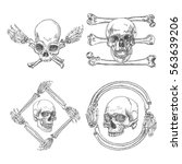 set of skulls crossbones  made... | Shutterstock .eps vector #563639206