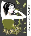 floral elements with fancy lady | Shutterstock .eps vector #5636431