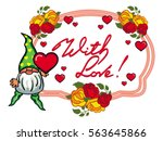 oval label with roses  cute... | Shutterstock .eps vector #563645866