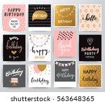 vector happy birthday set   Shutterstock .eps vector #563648365