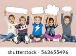 children smiling happiness... | Shutterstock . vector #563655496