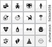 set of 16 editable  icons.... | Shutterstock .eps vector #563664358