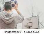street basketball player... | Shutterstock . vector #563665666