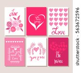set of valentines day postcards.... | Shutterstock .eps vector #563672596