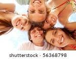 below view of joyful teens... | Shutterstock . vector #56368798