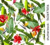 tropical leaves pattern. green... | Shutterstock . vector #563697856
