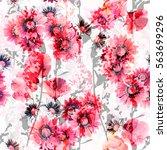 floral pattern pink gray... | Shutterstock . vector #563699296