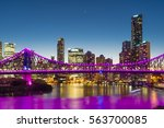 view of illuminated bridge and... | Shutterstock . vector #563700085