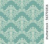 damask seamless floral pattern... | Shutterstock . vector #563701816
