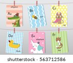 cute zoo alphabet with funny... | Shutterstock .eps vector #563712586